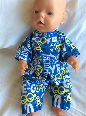 "DOLLS CLOTHES - Pyjamas made to fit 17""  Baby Born Boy Doll. Blue. Minions"
