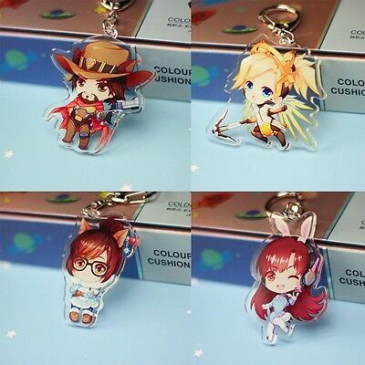 Double-faced Anime Game Overwatch Figure Acrylic Clear Key Chain Keyring Pendant