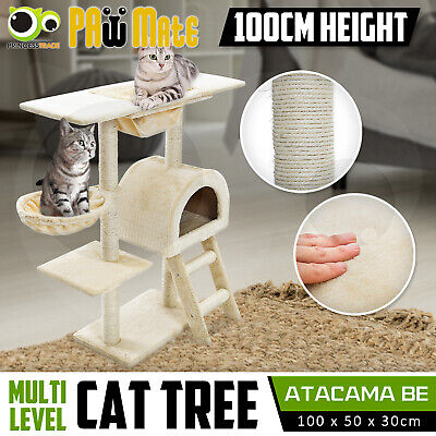 Cat Tree Scratching Post Scratcher Pole Gym House Furniture Multi Level 100cm BE