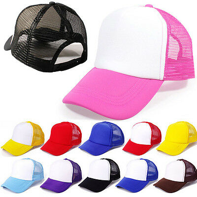 Plain Baseball Cap Curved Visor Hat fashion Trucker Adjustable Mesh Blank Solid