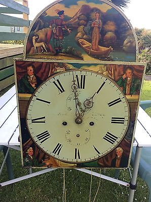 Grandfather Clock Works 8 Day Scottish Largs Painted Pendulum And Weights