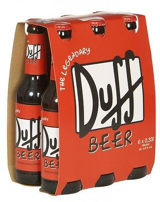 DUFF BEER BOTTLES VERY RARE (full six pack) Simpsons Collectible UNOPENED