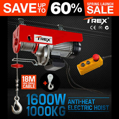 T-REX 1000KG Electric Hoist Winch 240V Cable Lift Tool Remote Chain Lifting Rope