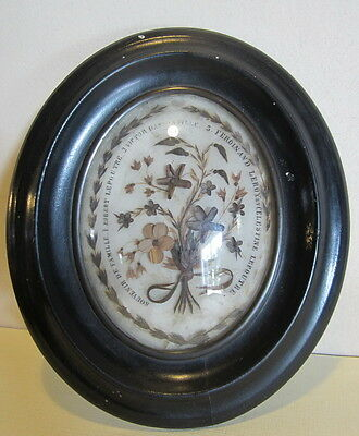 Antique BIG Victorian French mourning frame palette hair work; late 19th century