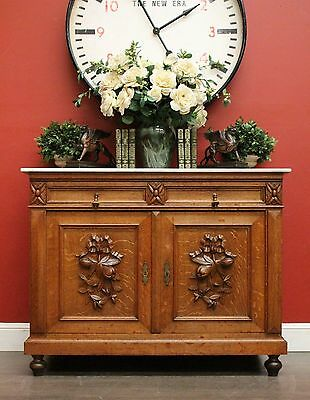 Antique French Oak and Marble Top 2 Drawer / Door Cabinet Sideboard Cupboard