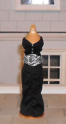 1/12Th Scale Dolls' Black Dress And Belt
