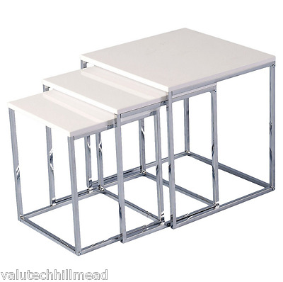 Riley Ave. Cherry 3 Piece Nest of Tables WHITE