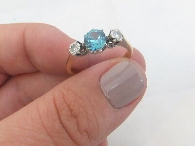 Fine art deco 3 stone blue zircon diamond 18ct gold and platinum ring 18k 750