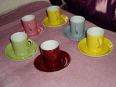 vintage harlequin cups and saucers x 6