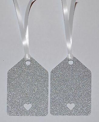 10 x Silver Glitter Love Hearts Gift Tags Wedding Favours Party Labels Vintage