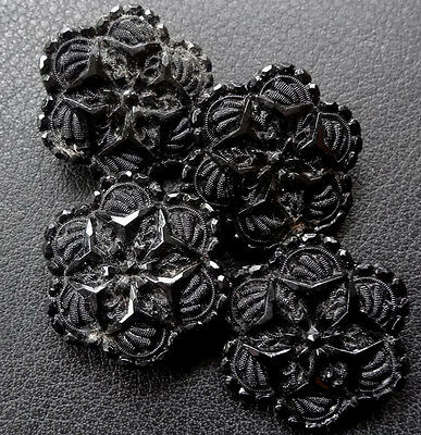 antique Victorian set of 4 22mm french jet black glass fancy flower button -N75