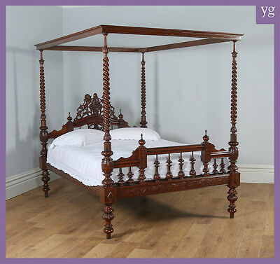 Antique 5ft King Size Victorian Anglo Indian Colonial Raj Four Poster Bed c1890