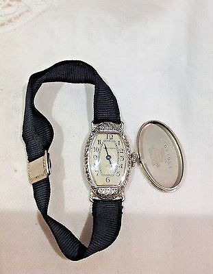 Antique 14K SOLID WHITE GOLD Waltham Art Deco Watch with Hadley 14K Band