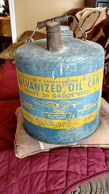 Vintage Galvanized Oil Can-2 gallon -Eagle Brand-1940's 26 Gauge Steel. No 405