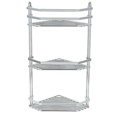3 Tier Chrome Corner Shower Rack Caddy Bathroom Shelf Organiser Unit Tidy Basket