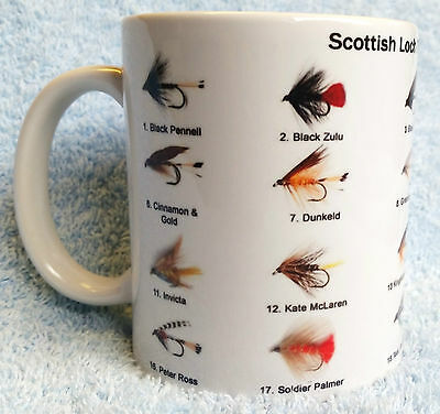 FLY FISHING, LOCH TROUT FLIES  - MUG, COLLECTABLE, IDEAL GIFT, not ROD REEL