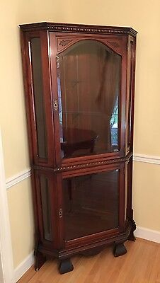 Vintage Antique Carved Mahogany Corner China Cabinet With Beveled Glass