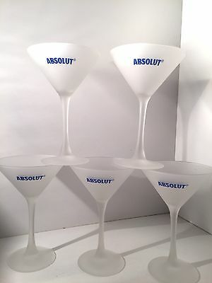 Martini Glasses Absolut Vodka White Frosted Collectible  (Set of 5)