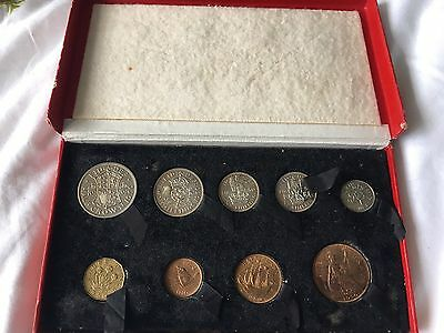 1950 9 Coin Proof Year Set In Royal Mint Original Red Box