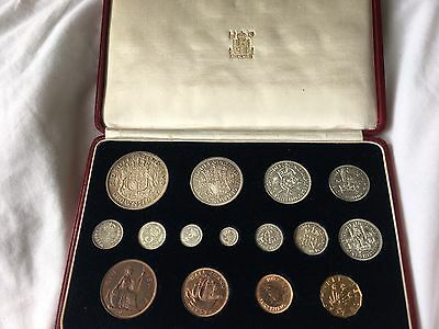 1937 George VI Specimen Proof 15 Coin Set – Crown to Farthing with Maundy.