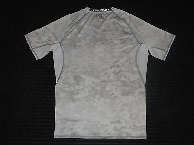 Under Armour Compression Base Layer Short Sleeve Shirt Mens XXL 2XL White Gray