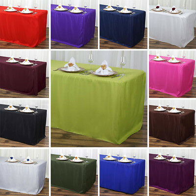 RECTANGULAR Fitted Polyester Tablecloth 6 feet Table Dinner Wedding Party Linens