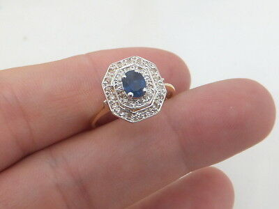 Fine sapphire diamond art deco design 18ct gold ring 18k 750