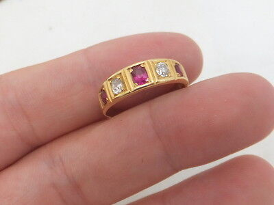 Fine art deco 5 stone ruby and diamond 18ct gold ring BH 18k 750