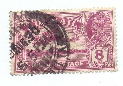 India 1929  George V Airmail Sg 224A 8 Anna Missing Tree Top Variety Used