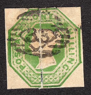 1847 SG 55 1/- Green Embossed Average Used R4353 CAT £1000