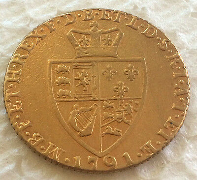1791 George III full Guinea gold coin 22 ct gold lot  #78