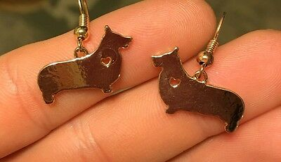 Pembroke Welsh Corgi Dog Jewelry Gold Plated Dangle Earrings Jewelry
