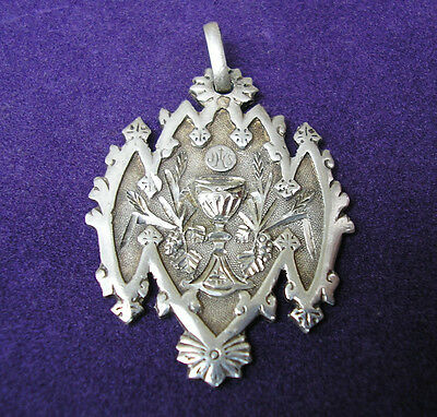 1889 Unusual Antique French Sterling Silver Communion Medal Religious Pendant