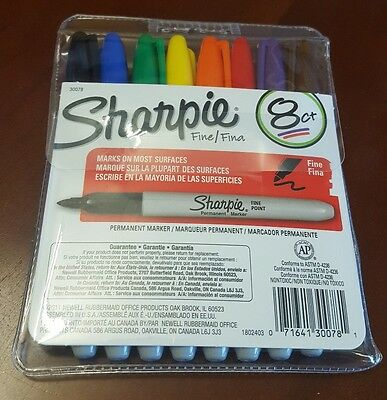 Sharpie Permanent Markers, Fine Point Tip, Assorted Colors, 8-Count New 30078