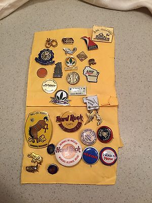 Vtg,tack Pins,political,hard Rock,pin Backs,brooch,28 Lot,clinic,aarp,enamel,tac
