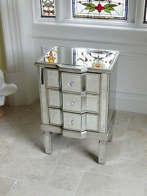 1 x Venetian Mirrored 3 Drawer Bedside Chest Of Drawers