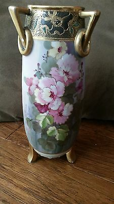 Nippon Hand Painted 3-Handled Vase Gold Paint & Etching