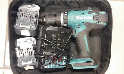 Makita 18v Lithium-ion Cordless Hammer Combi Drill with 2 Batteries and Charger