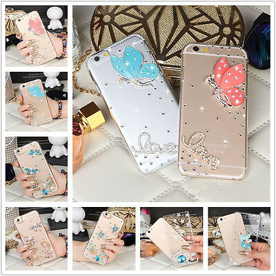 3D Bling Diamond Transparent TPU Soft Ultra Thin Back Case Cover For Phones #N11