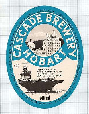 AUSTRALIA - Tasmanian Brew. Hobart - USS Enterprise 1976 - beer label