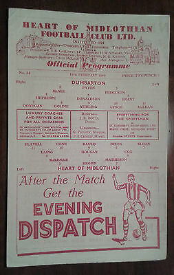 1948 / 1949  HEART OF MIDLOTHIAN HEARTS v DUMBARTON SCOTTISH CUP PROGRAMME