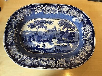 ANTIQUE STAFFORDSHIRE WILD ROSE BLUE & WHITE LARGE MEAT PLATE 40.5cm WIDE c1830