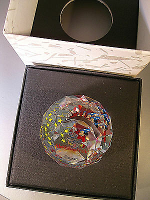 "Swarovski ""arribas Walt Disney World 25Th Anniversary Paperweight"" New W/box"