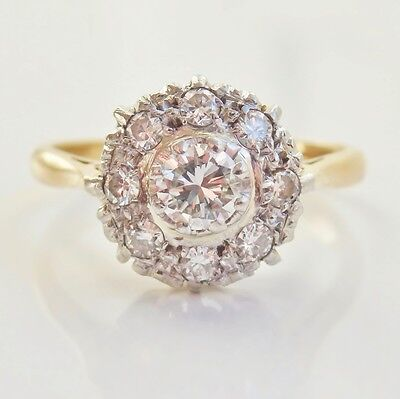 Stunning Vintage 18ct Gold Diamond Cluster Ring 0.60cts c1940's; UK Size 'L'