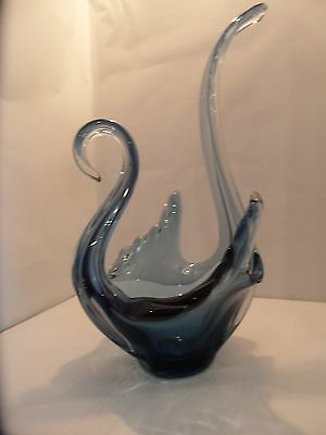 bohemian swan blue  glass bowl 1960s large 17 inch tall
