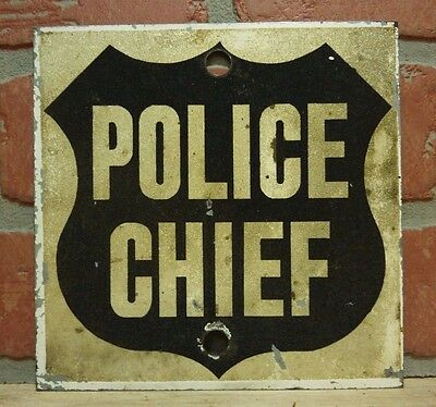 Orig Old POLICE CHIEF Sign metal w sand rough finish Petrometal Indus New York