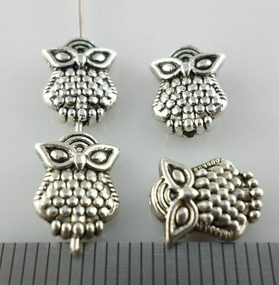 24pcs Tibetan Silver Style Owl Bird Spacer Beads Jewelry Beading 3x8x10mm
