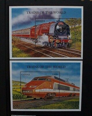 GHANA 1996 Trains of the World. 2 SOUVENIR SHEETS. Mint Never Hinged. SGMS2653.