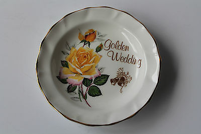 Fenton China Pin Dish Butter Plate Golden Wedding With Yellow Roses Gold Guild