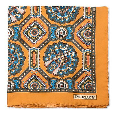 Purdey Shotgun Medallion Print Gold Hand Rolled Pocket Square RRP £85